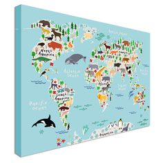 Childrens Animal World Map For Kids Canvas Prints Wall Art - Children's maps to print
