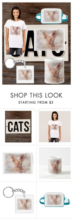 """Sphynx Cat"" by ditsydot19 ❤ liked on Polyvore featuring HomArt, cats, zazzle and ditsydot19"