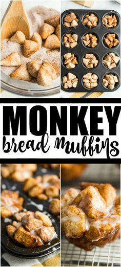 Low Unwanted Fat Cooking For Weightloss If Youre Like Me And You Believe You Can Never Go Wrong With Monkey Bread, Youre Going To Want To Inhale These Monkey Bread Muffins. Köstliche Desserts, Delicious Desserts, Dessert Recipes, Yummy Food, Yummy Treats, Dinner Recipes, Monkey Bread Muffins, Cinnamon Roll Monkey Bread, Deserts