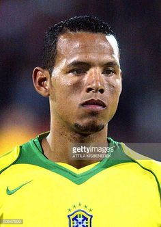 Brazil national soccer team player Luis Fabiano poses for photographers in the 'Ferenc Puskas' stadium of Budapest on Wednesday 28 April 2004 prior...