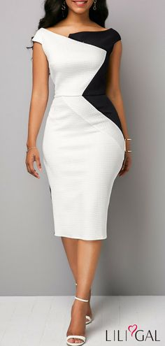 Material:Polyester Silhouette:Bodycon Dress Length:Mid-Calf Sleeve Length:Sleeveless Combination Type:Single Waist Line:Mid Waist Closure:Pullover Elasticity:Micro-Elastic Detachable Collar:No. Source by lynnellruttan dresses Trendy Dresses, Sexy Dresses, Dress Outfits, Casual Dresses, Sheath Dresses, Girly Outfits, Modest Dresses, Evening Dresses, Boat Neck Dress