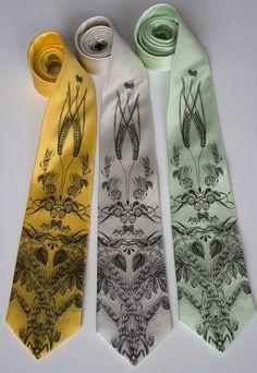 Beer Necktie. Craft beer lover gift, beer drinker gift. Hops, barley & wheat print. Silkscreen men's silk tie. Espresso brown print.