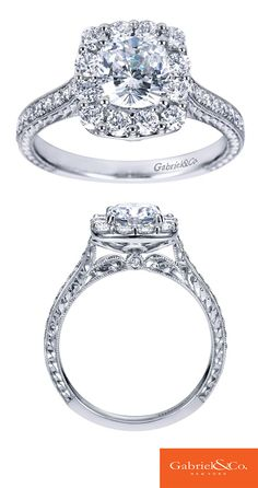 A gorgeous 14k White Gold Diamond Halo Engagement Ring. Discover your perfect engagement ring at Gabriel & Co.
