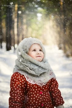 kids photo in winter forest