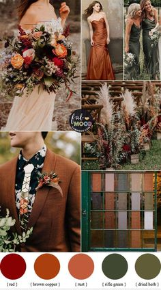Brown Copper and Rifle Green Color Combos { Subtle Sage Undertones } - #autumncolors - For brides who're getting married in autumn 2020. We've a beautiful wedding color palette for you to consider Brown Copper and Rifle Green with subtle sage undertones. Since rust , Terracotta and Sage have been popular this year.... Boho Wedding, Rustic Wedding, Dream Wedding, Copper Wedding Decor, Sunset Wedding, Elegant Wedding, Bodas Boho Chic, Fall Wedding Colors, Fall Wedding Themes