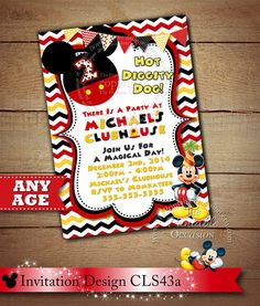 Mickey Mouse Invitation, Clubhouse Mickey Mouse Polka Dot, Photo Invitation, Red Yellow Blue Green B Photo Invitations, Invitation Design, Mickey Mouse Birthday Invitations, Invitation Birthday, White Background Photo, Samar, 3rd Birthday, Birthday Ideas, Kid Names