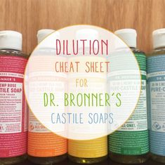 can't take credit for this one, but I love Dr. Bronner's products so much that I had to pass these cheat sheets along. Made with certified organic and fair trade ingredients, Dr. Bronner's Pure-Liquid Castile Soaps are concentrated (i. ready to be Castile Soap Uses, Castile Soap Recipes, Liquid Castile Soap, Glycerin Soap, Castile Soap Benefits, Diy Cleaners, Cleaners Homemade, Household Cleaners, Household Tips