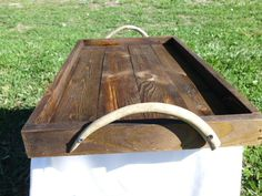 Serving Tray From Reclaimed Wood Stained Dark Walnut With Deer Antler Handles. $55.00, via Etsy. Wood Shop Projects, Dark Walnut Stain, Kitchen Collection, Deer Antlers, Cabins In The Woods, Farmhouse Decor, Tray, Retail, Living Room