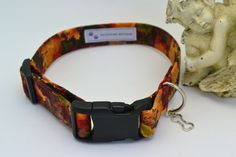 Unique Handmade Festive Fall Print Dog Collar, Pet Supplies, Adjustable Pet Fall Leaf Print Collar by HaleysPetBoutique on Etsy