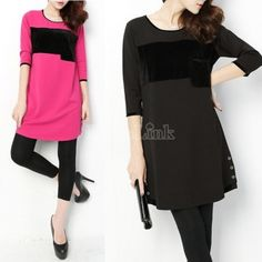 New Fashion Women Loose Long Sleeve Style Crew Neck Dress Casual Dress Warm Dress