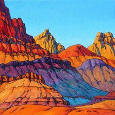The Southern Utah Museum of Art ( recently announced 37 pieces that will be the cornerstone of the First Peek exhibit on June Featured here are the intense colors of the Vermilion Cliffs from the perspective of artist Royden Card. Landscape Illustration, Landscape Art, Landscape Paintings, Illustration Art, Landscapes, Mountain Landscape, Illustrations, Best Abstract Paintings, Beautiful Paintings