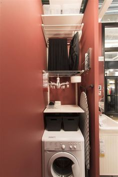 Optimize your small space & learn trick how to organize your dryer sheets, laundry room cabinet & other laundry room essentials Small Laundry Rooms, Laundry Room Design, Laundry In Bathroom, Small Rooms, Small Apartments, Small Spaces, Hidden Laundry, Laundry Room Remodel, Laundry Room Cabinets