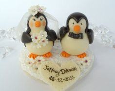 Penguin cake topper, love birds with snow base and banner