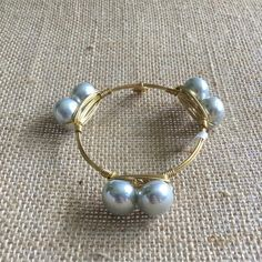 Bourbon and Boweties Double Silver Pearl Standard Wrist