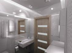 B&W.  Mała łazienka w bieli. Projekt New Concept Design. www.n-c-d.com.pl