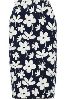 Marni midnight blue & white textured floral print pencil skirt $363, get it here: http://rstyle.me/~2fHze
