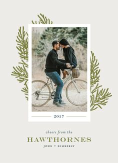 """Photo holiday card design with festive greenery. """"Poised"""" by Minted artist, Cheer Up Press."""