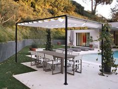 Pergola For Small Patio Info: 9136186347 Pergola With Roof, Diy Canopy, Shade Sail, Pergola Lighting, Pool Shade, Iron Pergola, Slide Wire Canopy Diy, Deck Design, Shade Landscaping