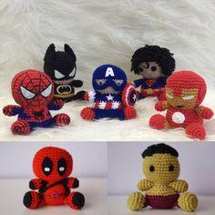 Spiderman, Batman, Captain America, Superman, Ironman, DeadPool, Hulk - Amigurumi - visit to grab an unforgettable cool 3D Super Hero T-Shirt!