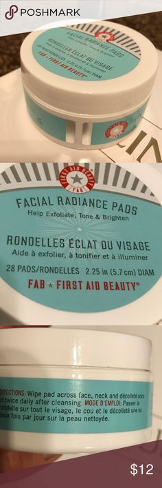 Award winning first aid radiance facial pads. BNWT Bottle never opened. Here's the perfect opportunity to try the award winning beauty product without spending the full price amount to only find, this products isn't for you. But this is made for all skin types. Even sensitive skin. This includes 28 pads to exfoliate, tones and brightens. Rave reviews for this, so I'm pretty confident, you will be investing in the full size product. Never opened, as all my beauty products for sanitary and…