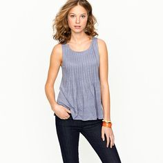 Linen pintuck shell top. Also comes in white (my favorite), black and cerise.