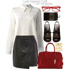 Lydia Inspired Outfit with Red Glasses by veterization on Polyvore featuring Tara Jarmon, Oasis, Seychelles, Campbell and Corinne McCormack