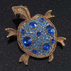 Sapphire/ Sky Blue Coloured Swarovski Crystal 'Turtle' Brooch In Gold Plating - 5.5cm Length *** Details can be found by clicking on the image. (This is an affiliate link) #WomensJewelry