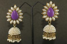 New Indian Bollywood Pearl Earrings Fashion Jewelry CZ Jhumki Gold Dangle Ethnic #Tanisha #DropDangle