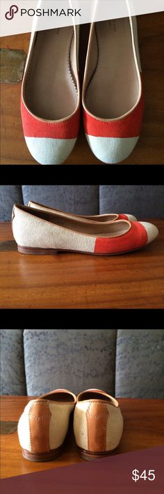 Rag & Bone Flats Super cute gently worn cotton canvas color block with leather sole flats. White color aspect actually more candlelight color, the orange color is as pictured.  These are adorable for jeans, dresses, shorts for knocking around in the Spring and Summer 🌞 rag & bone Shoes Flats & Loafers