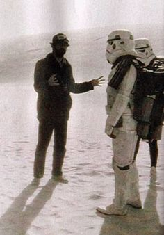 George Lucas directing Stormtroopers on the set of Star Wars.
