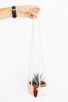 Hanging Leather Planter DIY
