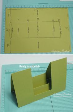 T T Double-Sided Step Card tutorial. 3d Templates, Card Making Templates, Card Making Tips, Card Making Tutorials, Card Making Techniques, Tri Fold Cards, Fancy Fold Cards, Folded Cards, Tarjetas Stampin Up