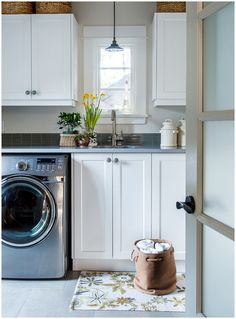 """When I was a kid, our laundry room wasn't a """"room"""", per se, but a corner of  the unfinished basement where a utility sink and washer/ dryer resided. It  was always clean, but dimly-lit, raw, and certainly not likely to have  wowed my mom as she dutifully trekked down there to deal with our daily  messes.  From what I remember, all of my friends' houses had the same laundry  setup--a small, dark corner of an unfinished basement, or some variation  thereof.Oh, you poor, neglected, unsexy ..."""