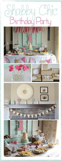 A lovely shabby chic first birthday party complete with lace jars, fabric garland, and paper flowers.
