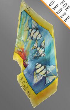 Hand painted silk scarf by Emilia Popova