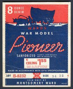 Wards War Model Pioneer 8 Ounce Denim Pocket Flasher Circa 1942-1945