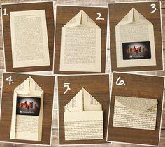 Envelope Art - Pen pal ideas - DIY envelope from book page Album Journal, Scrapbook Journal, Origami Envelope, Diy Envelope, How To Make An Envelope, Diy Paper, Paper Crafts, Fabric Crafts, Portfolio Pictures