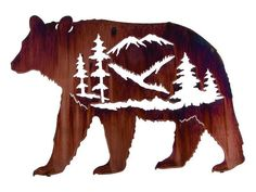 Grizzly Bear Montage Metal Wall Hanging