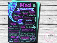 Mermaid birthday chalkboard Mermaid 1st birthday poster