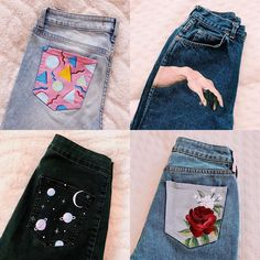 I'm working on several jeans atm, but for the time being, here's my 4 favorite jeans I've painted! What I'm working on several jeans atm, but for the time being, here's my 4 favorite jeans I've painted! What's your favorite one? Painted Jeans, Painted Clothes, Diy Clothes Paint, Diy Fashion, Teen Fashion, Ideias Fashion, Fashion Top, Fashion Sewing, Diy Clothing