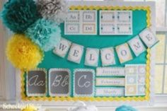 Classroom Decor Sunny Skies Collection - easy way to change the look/color ... classroom-in-a-kit