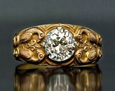 Antique Diamond Imperial Russian Gold and 2 ct Diamond Men's Ring