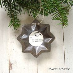 Rusty vintage star tart mold with sheet music - Christmas ornament #1. Now available in my Etsy shop Sweet Reverie: www.etsy.com/asweetreverie $5