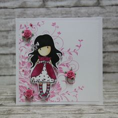 Card romantic Gorjuss and roses Girl Birthday Cards, Handmade Birthday Cards, Santoro London, Angel Cards, Shaped Cards, Card Making Inspiration, Pretty Cards, Copics, Scrapbook Cards