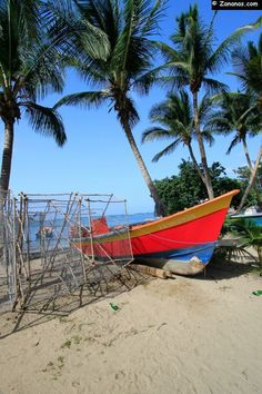 Fisher's boat on the Anse de Tartane. A beach on the north-east coast of #Martinique. Caribbean.   RePinned by : www.powercouplelife.com