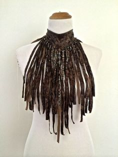 "The ""AMAZON WARRIOR"" Brown faux leather hand cut Fringe Necklace choker, decorated with beads:"