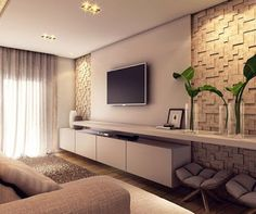 Decorated TV rooms: 115 projects for decoration - New decoration styles - Decor. - Decorated TV rooms: 115 projects for decoration – New decoration styles – Decorated TV rooms: - Tv Wall Design, House Design, Home Living Room, Living Room Decor, Living Room Tv Unit Designs, Tv Wall Decor, Wall Art, New Homes, Interior Design