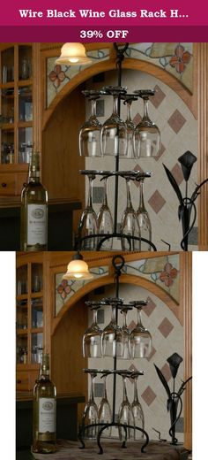 "Wire Black Wine Glass Rack Holder 25"" Height. Our Blacksmith has designed this custom signature hand forged knot wine glass holder. Achieve an architectural interest in any setting when paired up with your exquisite set of eight wine glasses. Large sturdy wrought iron is cured under heat to produce a durable black powder-coat finish. This is one of our best sellers with our matching four bottle wine holder, #JJ3066. Welded fabrication means that no assembly is required. This product is..."