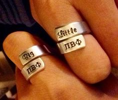 Pi Beta Phi big and little rings #piphi #pibetaphi Available on Etsy: https://www.etsy.com/listing/199147836/big-little-wrap-ring-set-sorority?ref=shop_home_feat_3