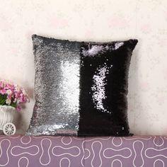 This is super cool! Silver White & Black Reversible Sequin Mystique Pillow